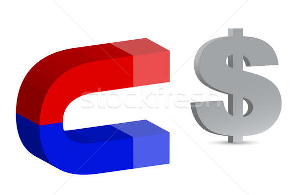 Magnet and dollar sign on white background Stock photo © alexmillos