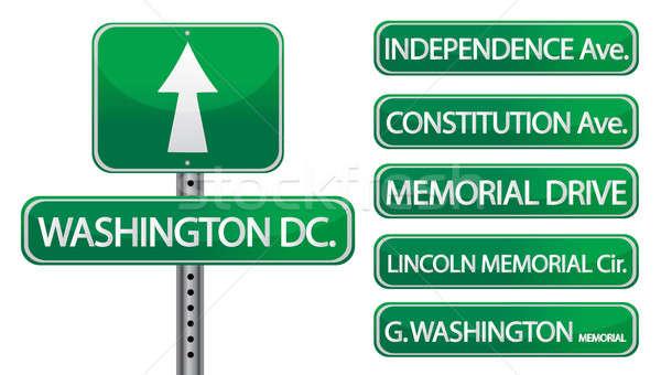 Вашингтон важный улиц дороги знак зеленый Сток-фото © alexmillos