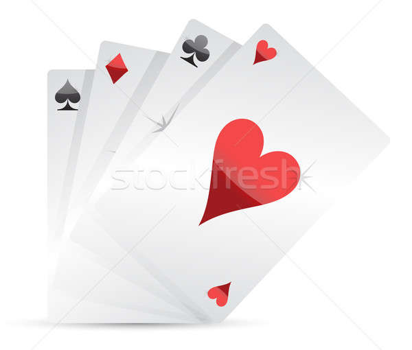 set of Playing cards illustration design on white Stock photo © alexmillos