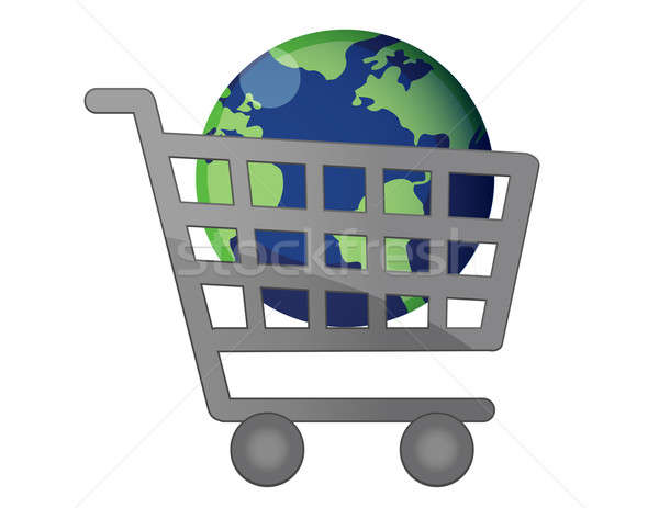 A world globe icons inside a shopping cart isolated over a white Stock photo © alexmillos