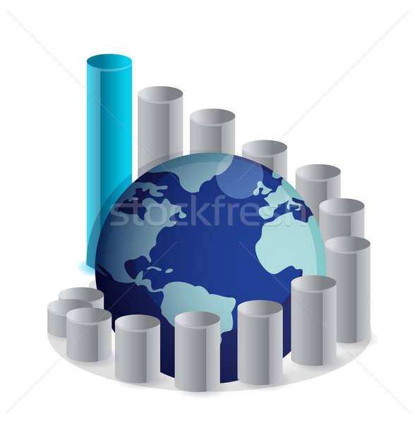 Stock photo: upward globe chart illustration design