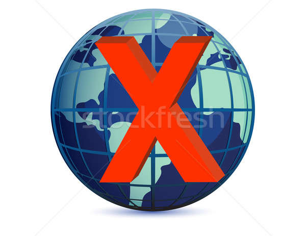 World globe and x mark over a white background Stock photo © alexmillos
