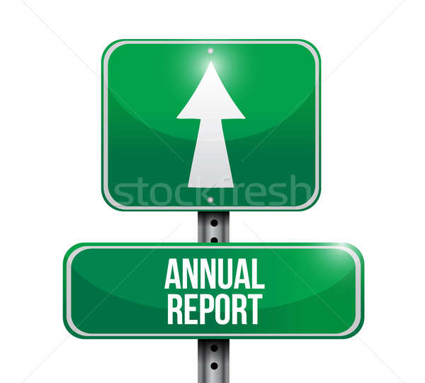 annual report road sign illustrations design over white Stock photo © alexmillos