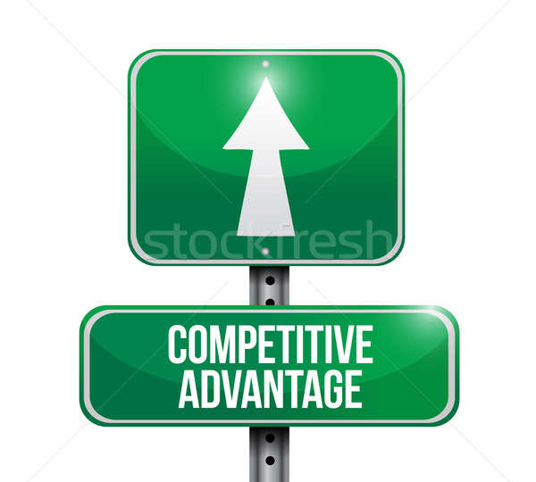competitive advantage road sign illustration design over a white Stock photo © alexmillos