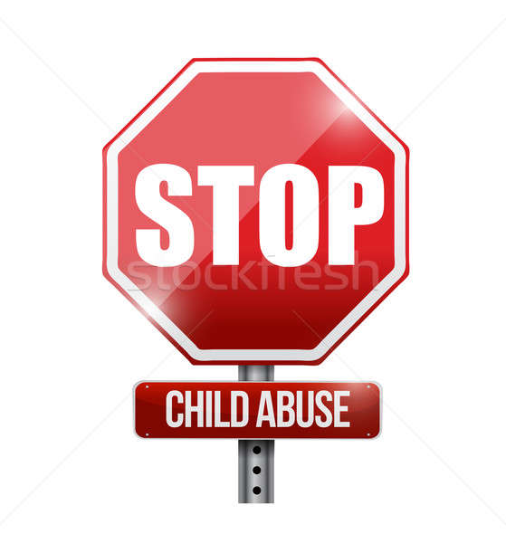 stop child abuse road sign illustration design over a white back Stock photo © alexmillos