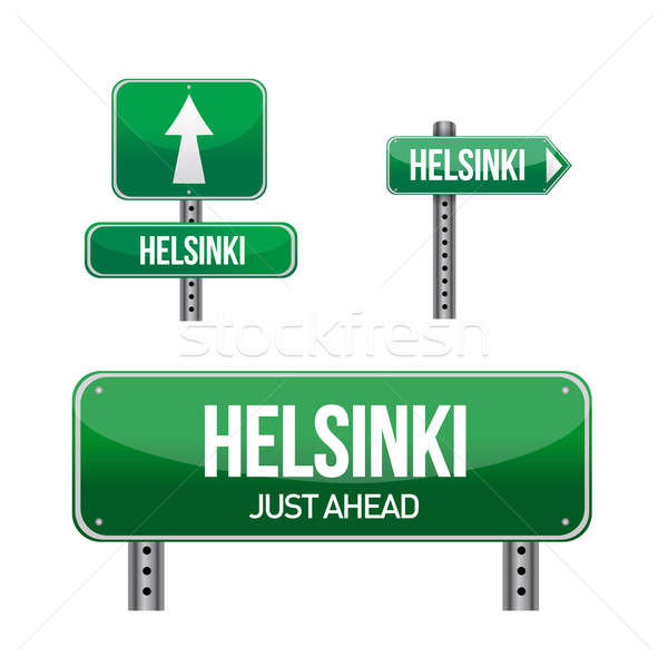 Helsinki ville panneau routier illustration design blanche Photo stock © alexmillos