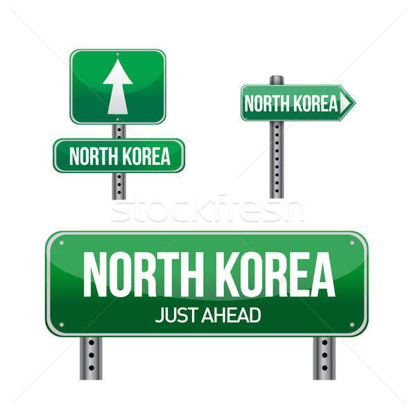 north korea Country road sign illustration design over white Stock photo © alexmillos