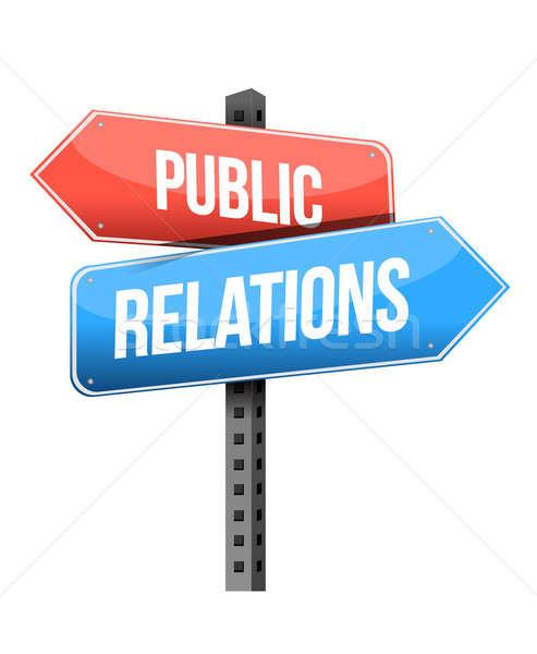 Marketing concept: Public Relations road sign illustration desig Stock photo © alexmillos