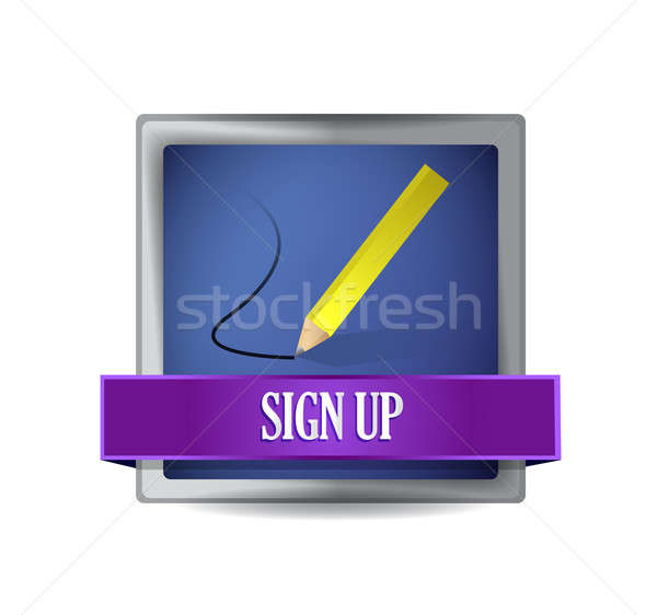 Sign up glossy button illustration design over white Stock photo © alexmillos