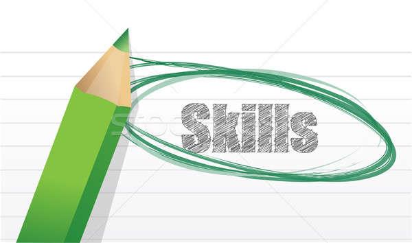 Fähigkeiten Merkzettel Papier Illustration Design Stock foto © alexmillos