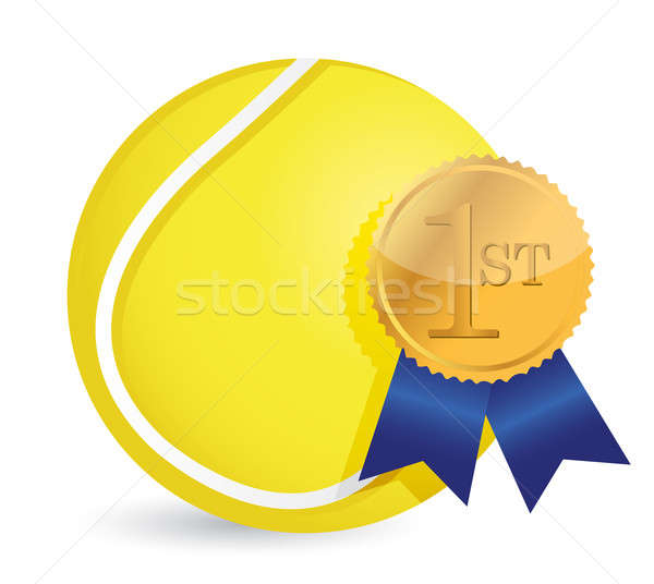Bola de tênis prêmio ilustração projeto branco esportes Foto stock © alexmillos