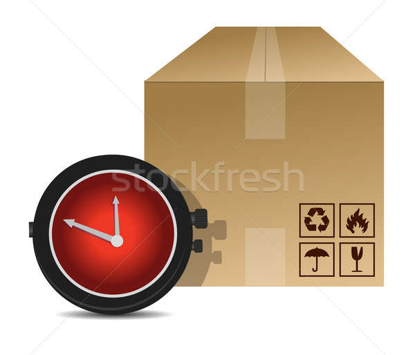 watch and box shipping illustration design over a white backgrou Stock photo © alexmillos