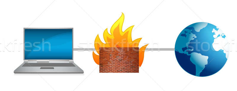Laptop Firewall Schutz Illustration Design weiß Stock foto © alexmillos
