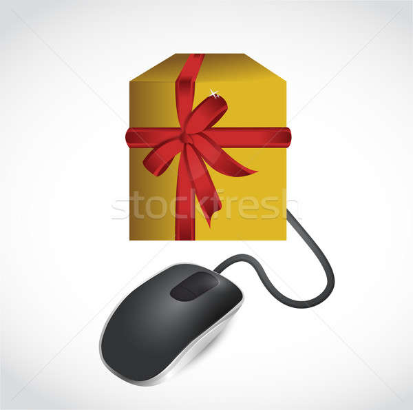 online gift concept illustration design over white Stock photo © alexmillos
