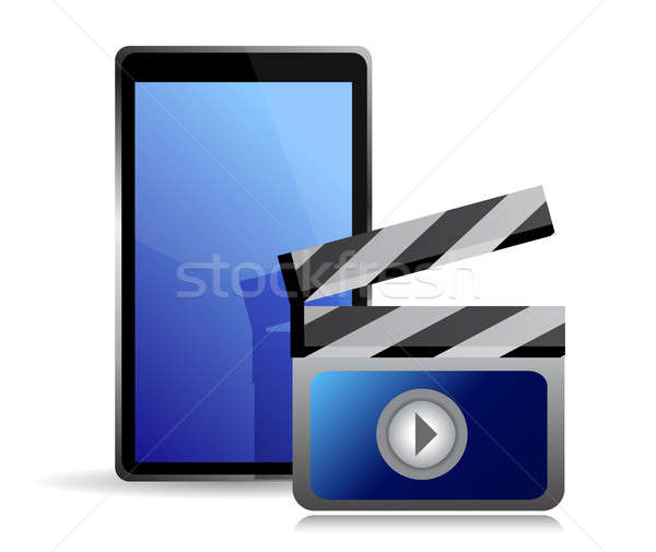 movie editing on a tablet illustration design over white Stock photo © alexmillos