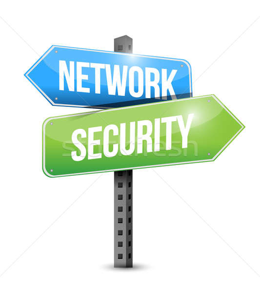 network security road sign illustration design over a white back Stock photo © alexmillos