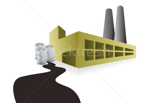 factory oil spill illustration design over a white background Stock photo © alexmillos