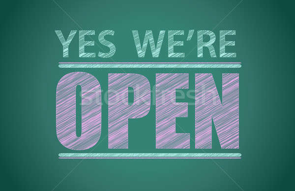 yes we're open illustration design graphic background Stock photo © alexmillos