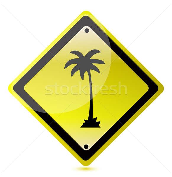 palm yellow illustration design over white background Stock photo © alexmillos