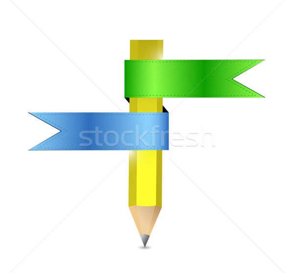 Színesceruza szalag illusztráció terv fehér ceruza Stock fotó © alexmillos