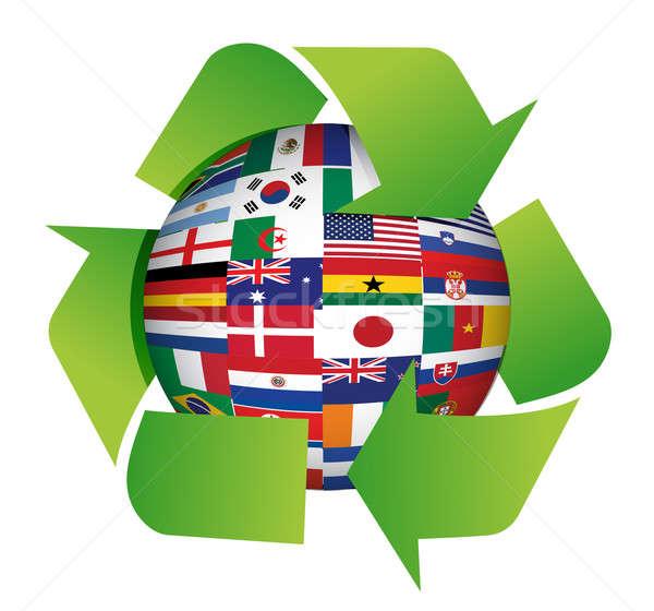 Zdjęcia stock: świecie · flagi · recyklingu · ilustracja · projektu · biały