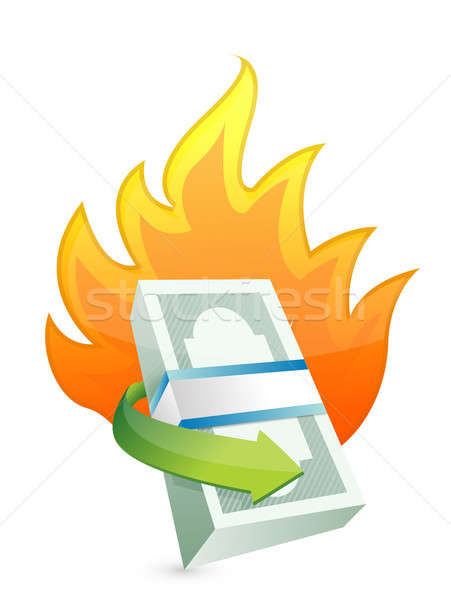 Monetário fogo crise dinheiro papel assinar Foto stock © alexmillos
