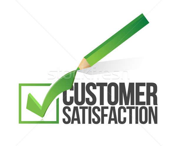 Customer satisfaction checkmark and pencil Stock photo © alexmillos
