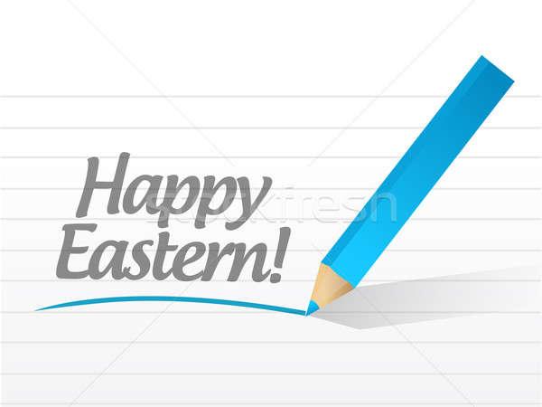 Happy eastern holiday message illustration Stock photo © alexmillos