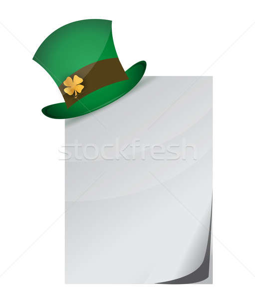 Curled page and St. Patrick's Day hat with clover  Stock photo © alexmillos