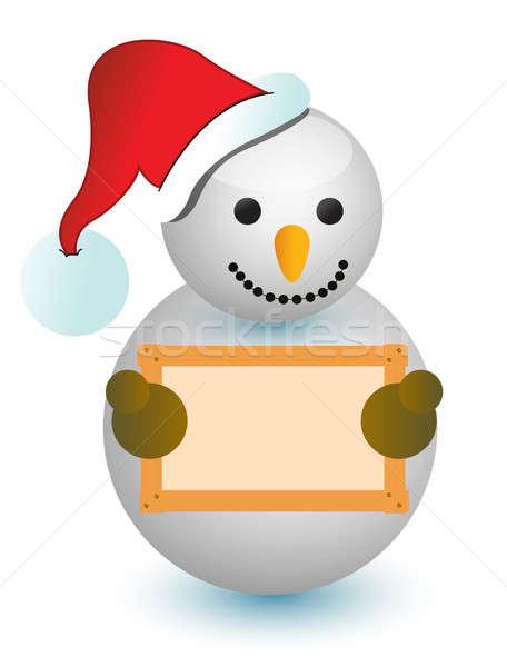 Snowman holding wood sign  Stock photo © alexmillos