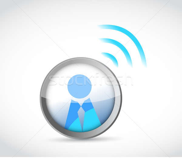 Stock photo: Icon button with a wifi connection