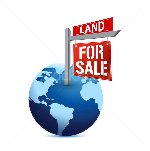 For sale sign on planet Earth illustration  Stock photo © alexmillos