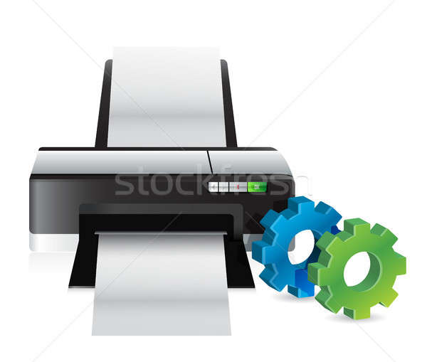 printer with industrial gears Stock photo © alexmillos