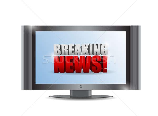 Rendkívüli hírek felirat tv illusztráció terv fehér Stock fotó © alexmillos