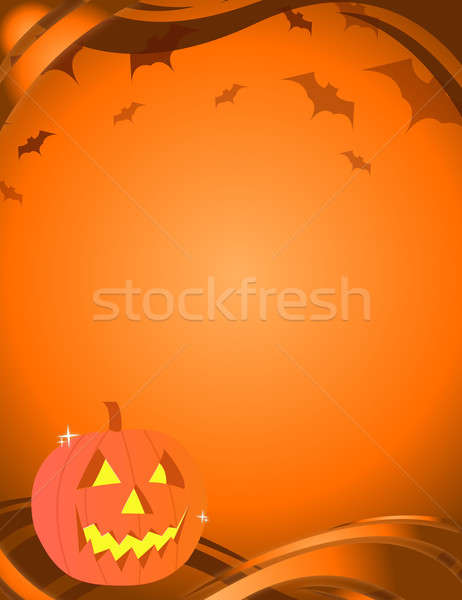 Halloween pumpkin over an yellow and orange background with vamp Stock photo © alexmillos