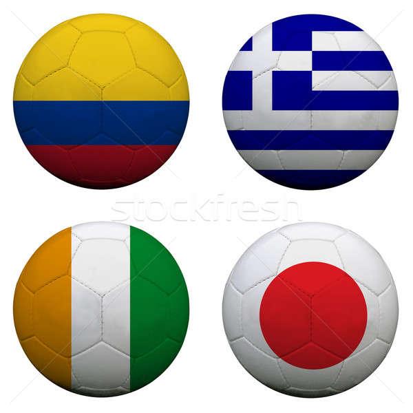 ストックフォト: サッカー · グループ · チーム · フラグ · サッカー