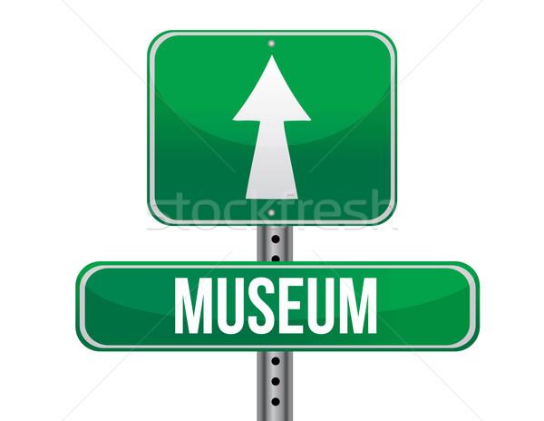 Múzeum jelzőtábla illusztráció terv fehér utca Stock fotó © alexmillos