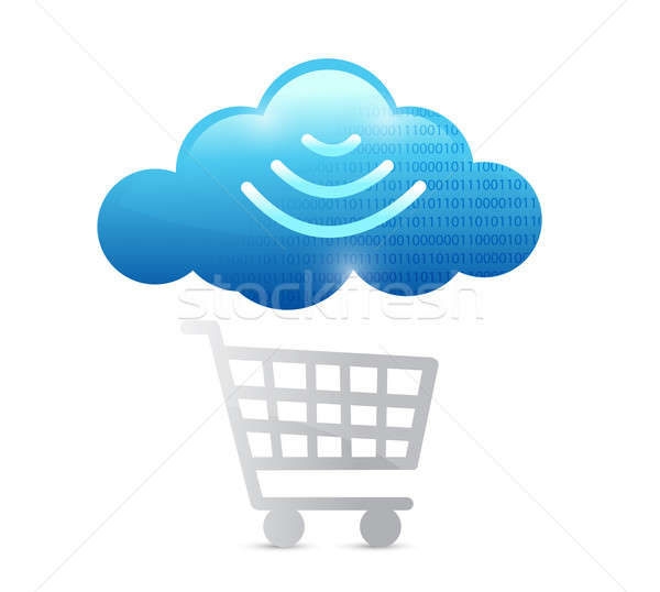 shopping cart and wifi cloud illustration design over a white ba Stock photo © alexmillos