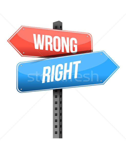 right, wrong road sign illustration design over a white backgrou Stock photo © alexmillos