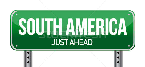 road sign to south america illustration design over a white back Stock photo © alexmillos