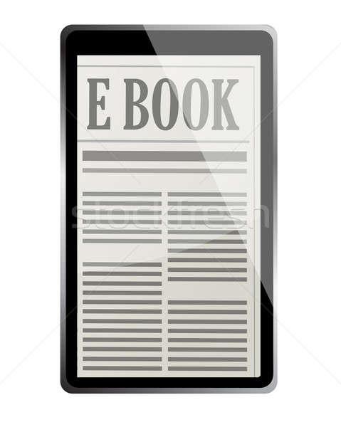 Ebook 3D computer telefoon technologie nieuws Stockfoto © alexmillos