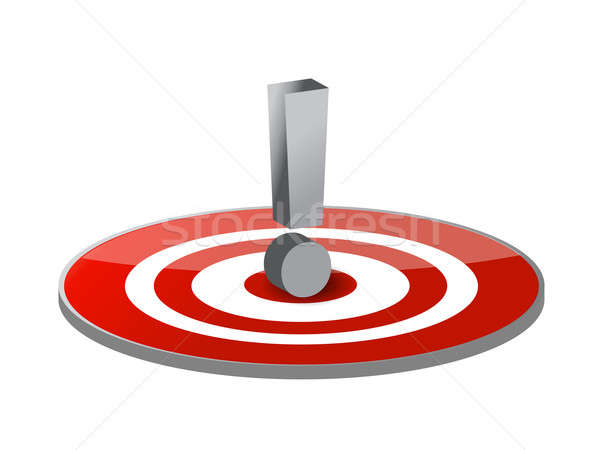 target and exclamation mark illustration design over a white bac Stock photo © alexmillos