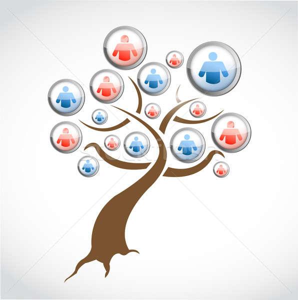 Red social los medios de comunicación árbol ilustración diseno blanco Foto stock © alexmillos