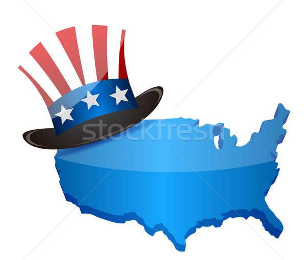 Superior sombrero tío mapa ilustración diseno Foto stock © alexmillos