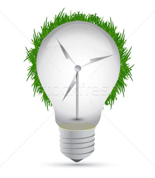 Stockfoto: Windmolen · eco · gloeilamp · illustratie · ontwerp · witte