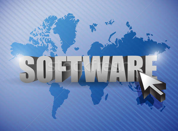 software and cursor illustration design over a world map Stock photo © alexmillos