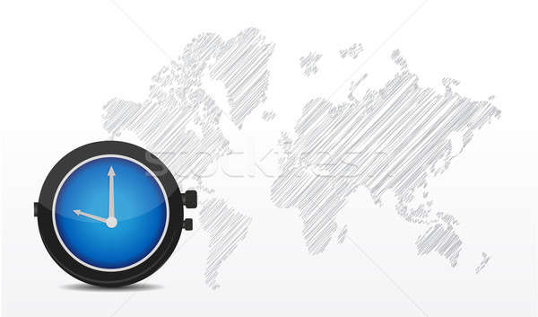 Map of the world and big watch illustration design over white Stock photo © alexmillos