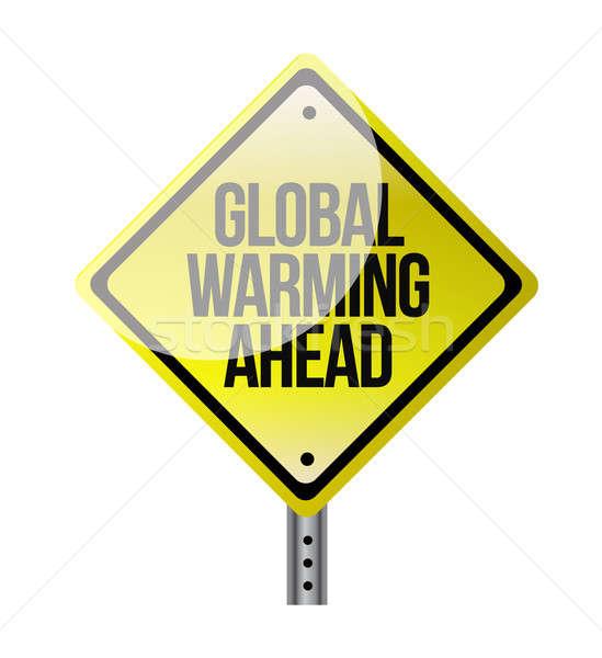 Küresel isınma sarı yol işareti örnek dizayn Stok fotoğraf © alexmillos