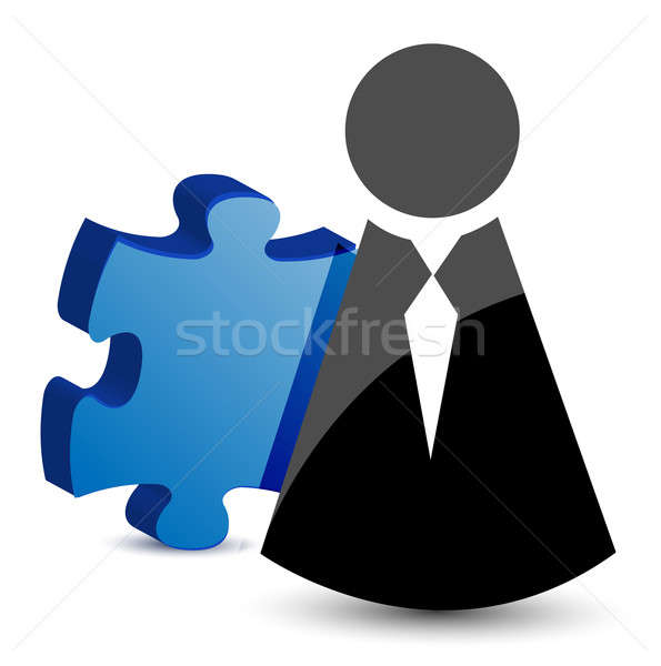 business icon and puzzle piece illustration design Stock photo © alexmillos