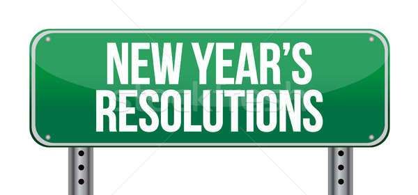 sign announcing 'New Year's Resolutions' illustration design ove Stock photo © alexmillos